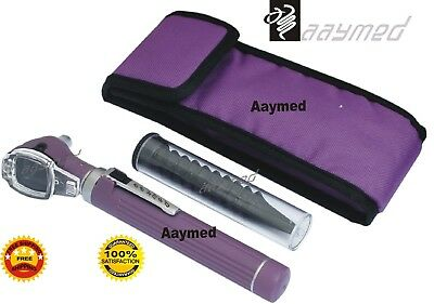 Mini Otoscope Fiber Optic Medical Diagnostic ENT Examination Set in Purple Color