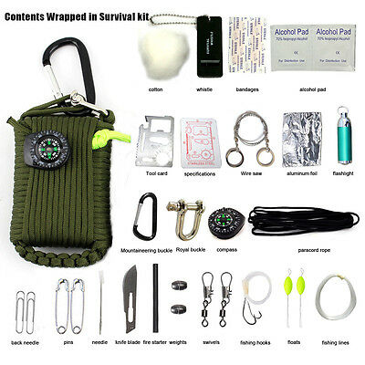 29 in 1 Survival Kit First Aid SOS EDC Paracord for Camping Hunting Rescue