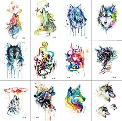 12x WOLF Temporary Tattoos Collection 9x6 Cms Adult Body Art Wolves Rainbow 🐺🐾