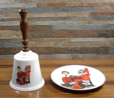 Normal Rockwell Day After Christmas Plate & Christmas handbell w/ wooden handlle