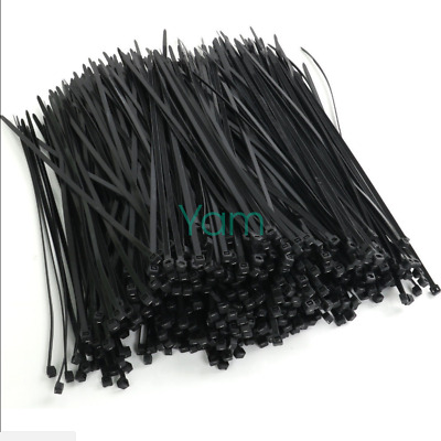 500X BLACK Nylon Plastic Releasable Reusable Cable Tie Zip Wraps Ties Wire