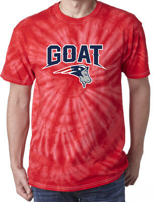 "Tie-Dye RED Tom Brady New England Patriots ""NEW GOAT LOGO"" T-Shirt"