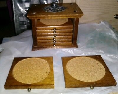 Vintage Real Wooden Cup Holder Coaster Set of 8 with Wooden Storage Box Good Con