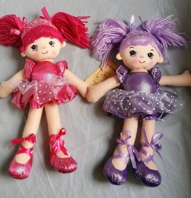 BRAND NEW 30CM RAG DOLL Dee Dee (2 Colours To Choose From) Pink Or Purple