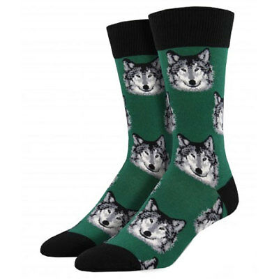 Socksmith Men's Crew Socks Wolf Hunter Green Novelty Footwear Wild Dogs