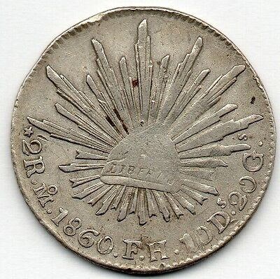 Mexico 2 Reales 1860 MoFM (90.3% Silver) Coin