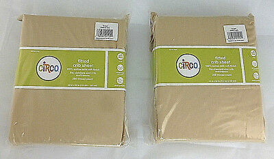 Lot of 2 Circo Fitted Crib Sheets Khaki Cotton NEW
