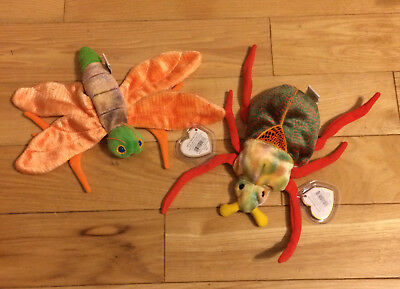 """TY Beanie Baby 2000 """"Glow"""" GlowWorm+TY  """"Scurry"""" Bug -Tag Protectors Included"""