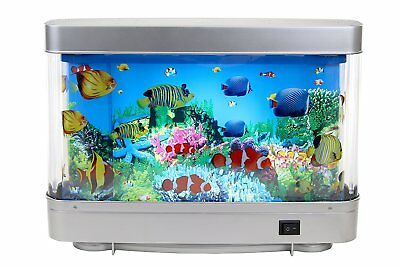 Decorative Rotating Lamp Fake Fish Tank Aquarium With LED Light With Moving fish