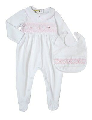 Gorgeous White Hand-Smocked, Hand-Embroidered Babygrow & Bibs Set For Baby Girls