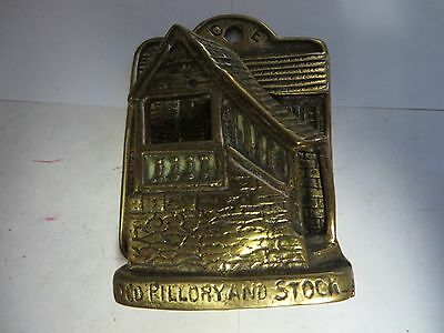 """Old Pilloryand Stock"" Brass Antique English Door Knocker"