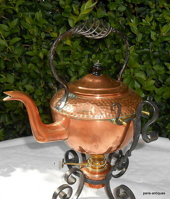 Antique Henry Loveridge copper spirit kettle with wrought iron stand 1867-1927