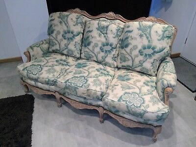 FRENCH  VINTAGE SOFA elegant LOUIS style  chaise canape aqua kingfisher