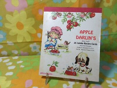 Vintage Apple Darlin's Set Of 25 Blank Recipe Cards Religious Quotes Girl Dog
