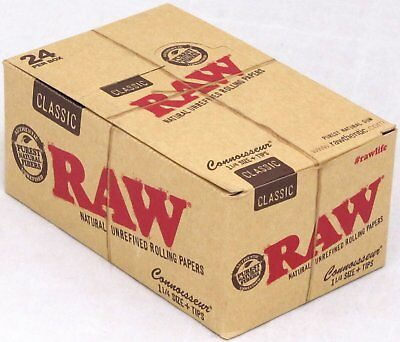 RAW Classic Connoisseur Rolling Papers w/Tips 1 1/4 Size 24 Packs Full Box