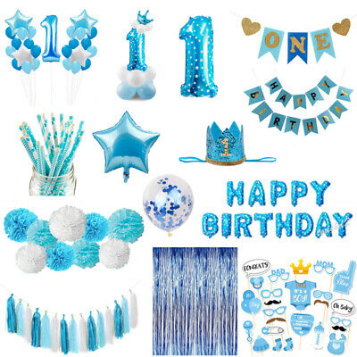 Baby Shower Blue Theme Photo Booth Prop 1st Birthday For Boy Wedding Party Decor