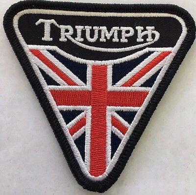 Embroidered  cloth patch ~Triumph Union Jack Triangle.  -  B011105