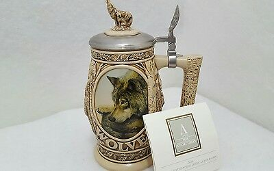 Vintage 1997 AVON COLLECTABLE ~ Tribute to the North American Wolf ~ Stein