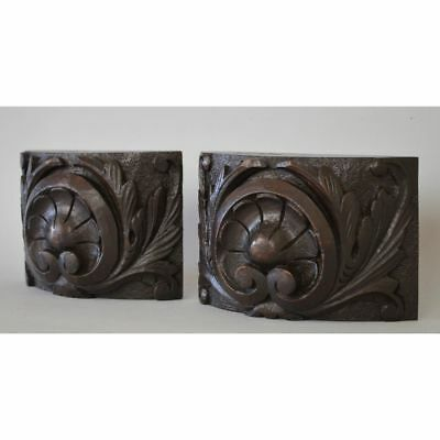 Beautiful Antique Pair English Carved Oak Salvaged Decorative Corner Moldings