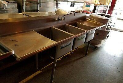 """(3) Three Compartment Commercial Stainless Steel Sink 90""""L x 24""""W"""