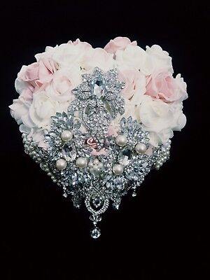 Heart shape BOUQUET brooch  wedding Bouquet  BLUSH   -UK MADE by UK SELLER