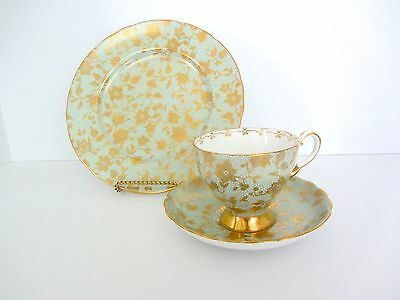 Tuscan Trieste Trio Footed Cup Saucer Plate Bone China Golden Blossom 3 Pcs