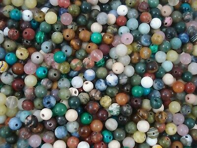 Gemstone Beads 45pc Mix 6mm Round Semi Precious Gem Stone Natural FREE POSTAGE