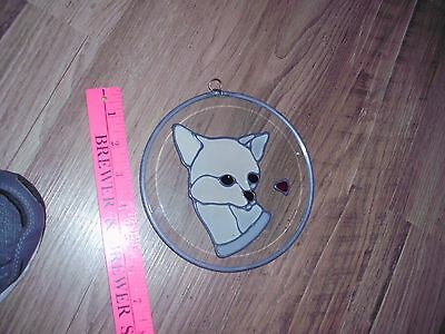 vintage stained glass hanging window chihuahua Dog Catcher gift wall heart old