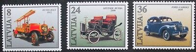 Latvian car production stamps, 1996, Latvia, 3 stamp set, SG ref: 453-455, MNH