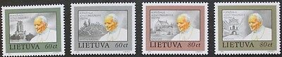 Papal visit, Pope John Paul II stamps, 1993, Lithuania, SG ref: 538-541, MNH