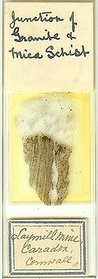 Junction of Granite & Mica Schist from Cornwall Petrographic Microscope Slide