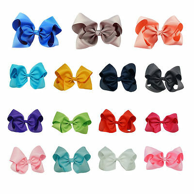 "6"" & 8"" Inches Girls Hair Bows Grosgrain Ribbon Knot Large With Clip 15 Colors"