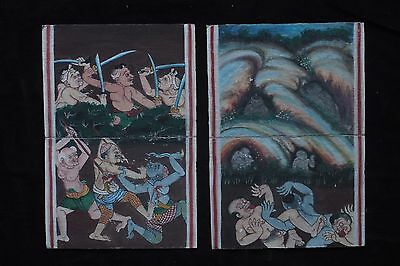 Set Antique Thailand Manuscript Painting from the 19th Century on book  -005