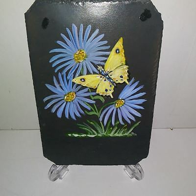 Handpainted Antique Slate Roof Tile Butterflies & Flowers Smoky Mountain Slate