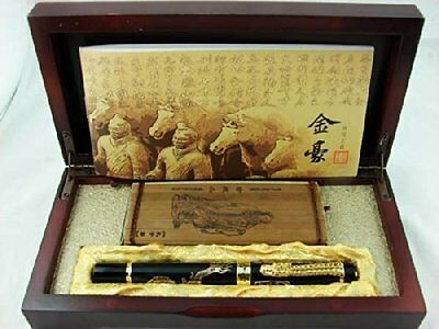Jinhao Chinese Dragon Offspring Fountain Pen Medium Nib Wooden Box Business gift