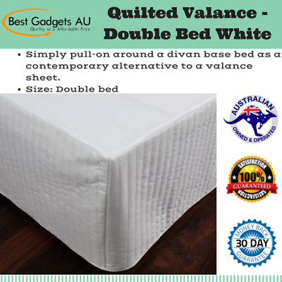 Quilted Valance - Double Bed White Polyester Fill Bed Wrap Bedroom Linen Home