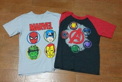 Lot of 2 Youth T-Shirts: Marvel Comics and The Avengers-Age of Ultron Large Gray