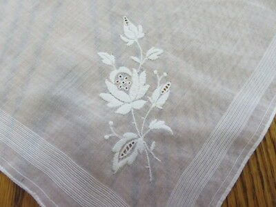 """Vintage Hankie/handkerchief - White Embroidered Flowers - 11"""" By 11"""""""