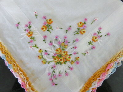 """Vintage Hankie/handkerchief - White -  Embroidered Flowers -  14"""" By 14"""""""