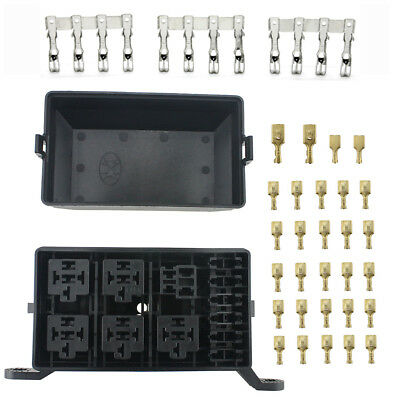 Auto Car Fuse Box 6 Relay Socket Holder with 32 Pins Waterproof connector 12V