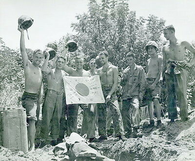 WWII B&W Photo US Soldiers Pose with Captured Japanese Flag World War WW2 / 1147