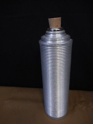 Vintage Thermos Ribbed Aluminum Vacuum Bottle Cork Retro Coffee Farmers Lunch
