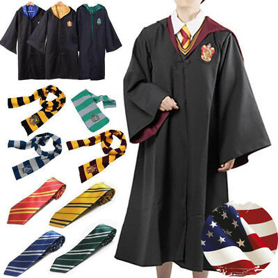 Adult Child HarryPotter Hogwarts Robe Cloak Costume Cape Tie Scarf Cosplay Wand