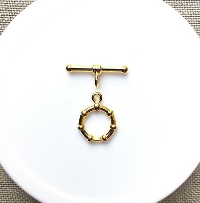 Toggle/Clasp, Gold Plated Base Metal, 13.5x17.5mm, 3 Sets /Pack.