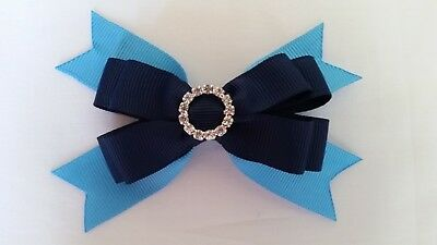 hair bows ribbon girl school sport accessories clip elastic aegean navy blue