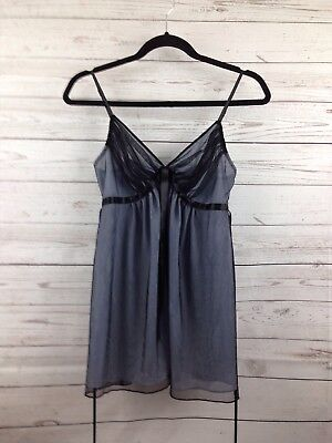 Victoria's Secret Women's Cami Tank Blue with Black Mesh Overlay Size Medium