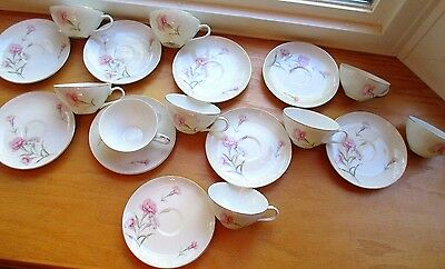 Vintage Royal Court Fine China Carnation Japan 9 Each Saucers and Coffee Cups