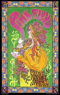 Pink Floyd at Marquee, London WI 1966 Bob Masse 14 x 23 inch Rock Concert Poster