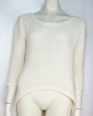 Zara Knit Cream High Low Pullover Sweater Chunky Knit Size Medium Long  Sleeve a78cf9ec8