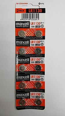 10 NEW Maxell LR1130 189 389 LR54 SR1130SW AG10 Alkaline Battery Exp 12-2019 TM